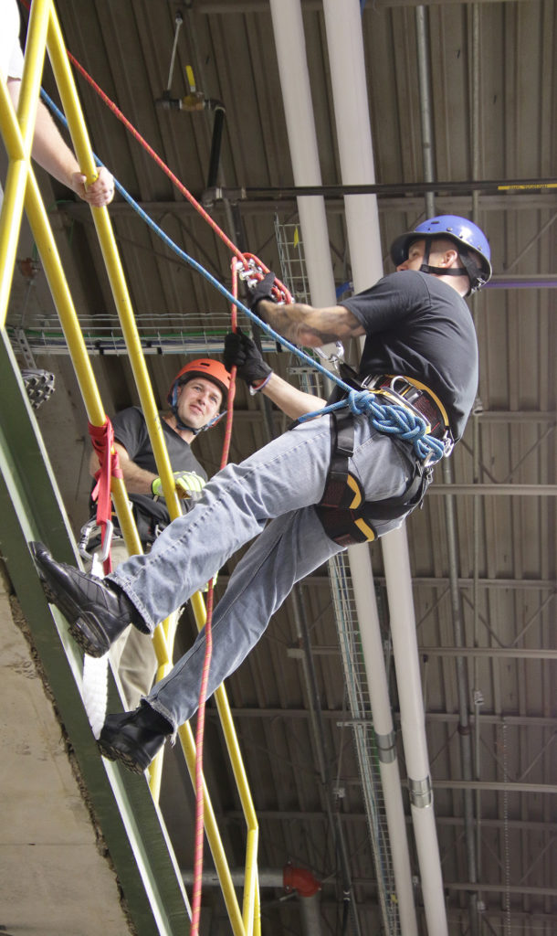 A student learns repealing as a part of the Rope Rescue course one of many offered during Kirkwood's fire school.
