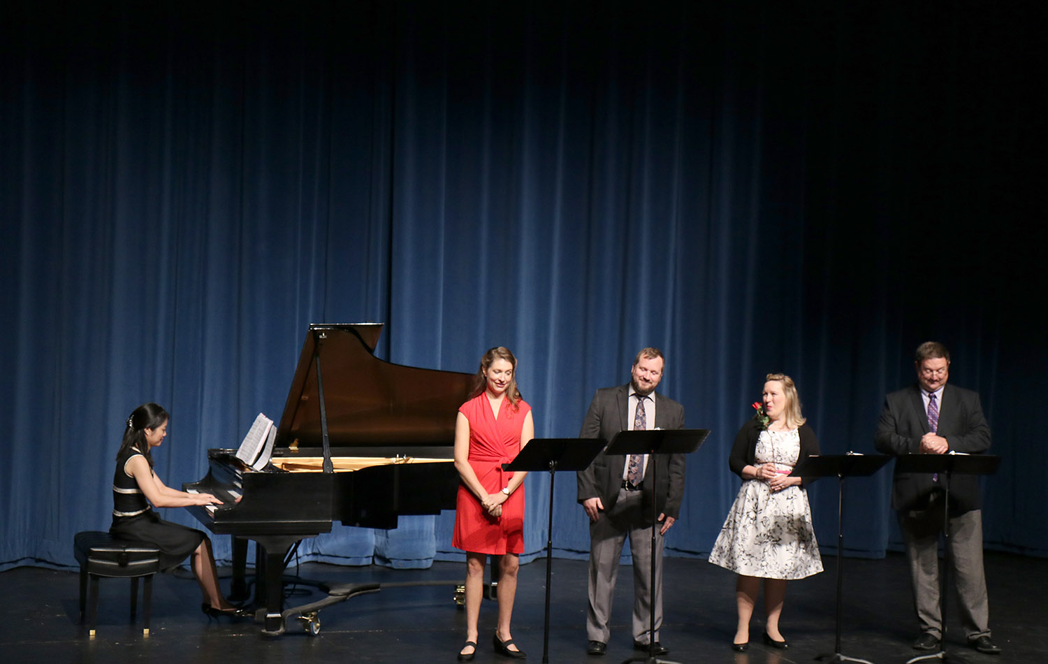 <strong>PHOTO BY Dedric Roundtree <strong><br>Members of Kirkwoods Arts and Humanities department perform during the Faculty Recital held in Ballantyne Auditoruim on Sept. 12. Left to Right are Dr. Kim Seong-Silkim, Mary Jane Cluassen, Dr. Benjamin Laur, Dr. Allison Holmes-Bendiyen, and Dr. Fred Kiser.