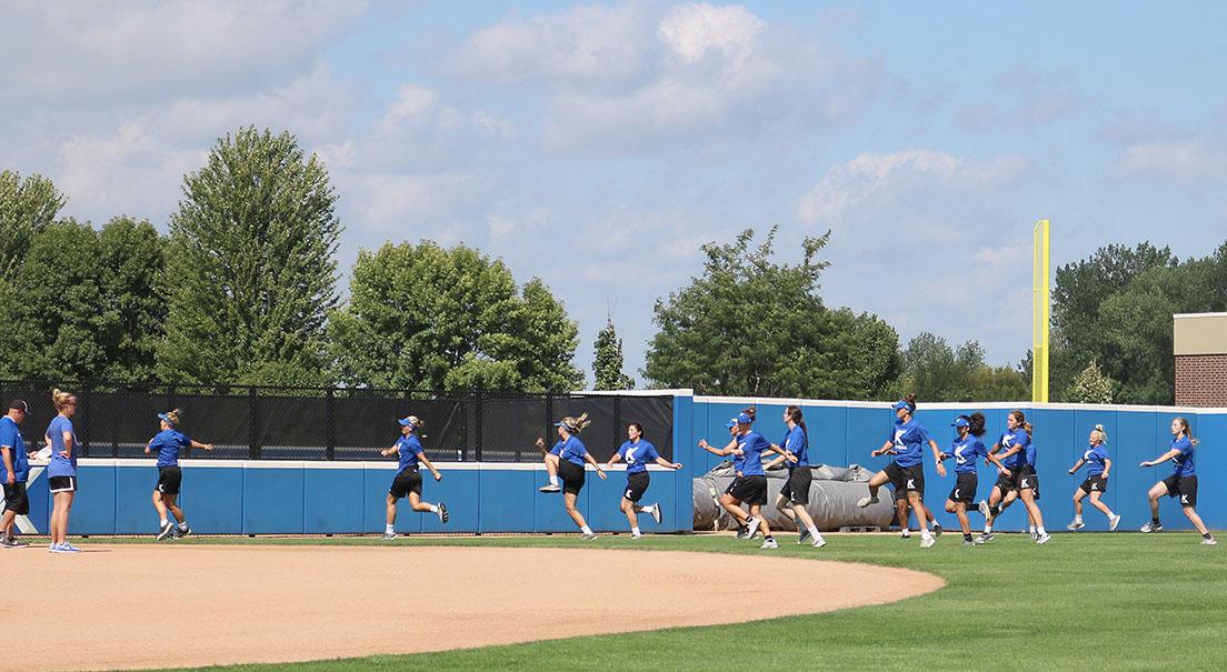 Kirkwood Softball Team takes time to work outside on Aug. 28.