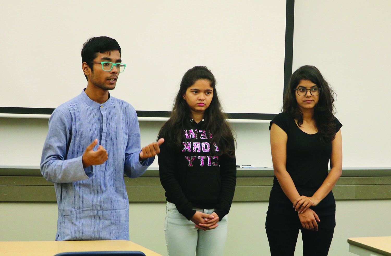 <strong>PHOTO BY Debra McRoberts</strong><br> Global spotlight on India was presented by freshmen Agricluture Sourav Ranjan, freshman Business Management Mayuri Shelar and freshman Human Resources Rekha Rayka in Cedar Hall on Sept. 17