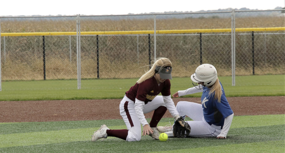 #1 Jayme Finn sophomore beats the play at seconed base during the game against Indian Hills Community college on Oct 13.  PHOTO BY JEFF SIGMUND