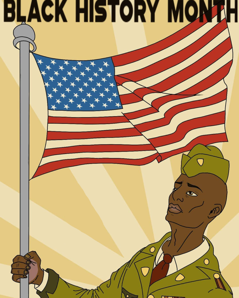 Black History Month, African American soldier holding the flag