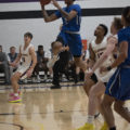 #21 Jamal Stephenson goes in for a layup against Ellsworth Community College players on Feb. 19.