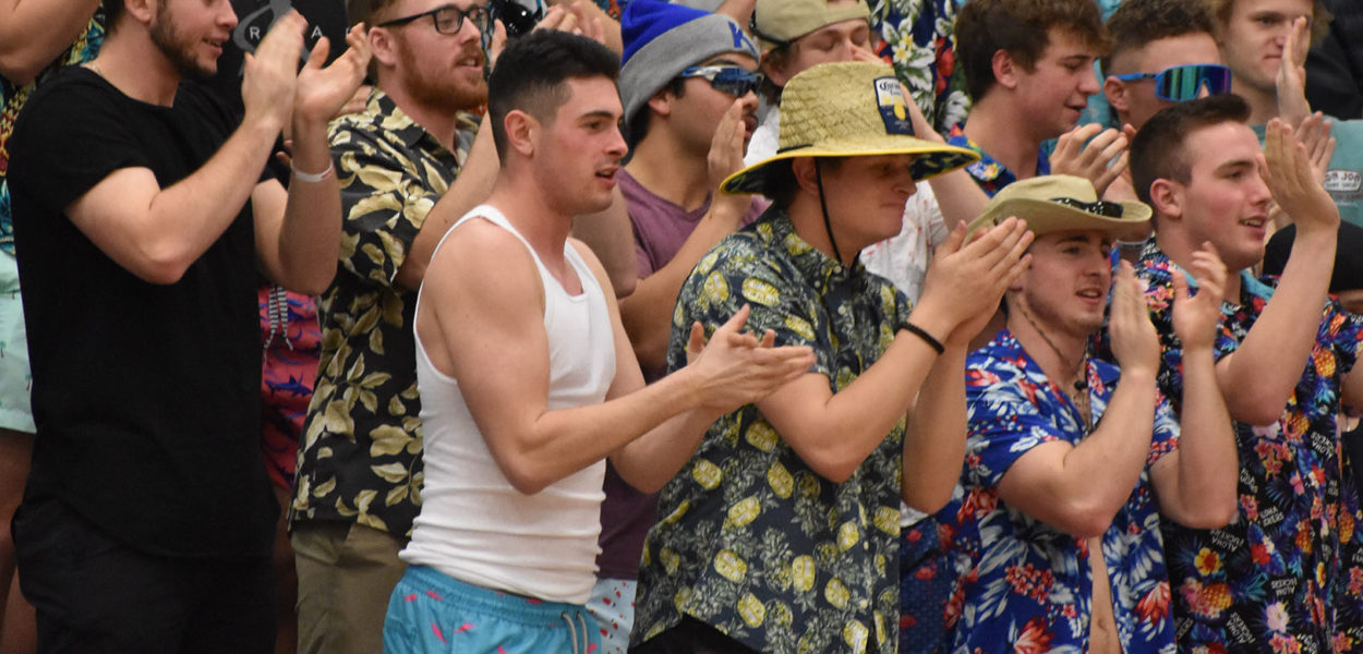 Students show support to the Kirkwood basketball teams by dressing up in vacation attire during Hawaiian night on Feb. 12.