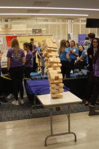 Jenga was one of the many game options for students to play during Kirkwood Dance Marathon at the Rec Center on Feb. 21.