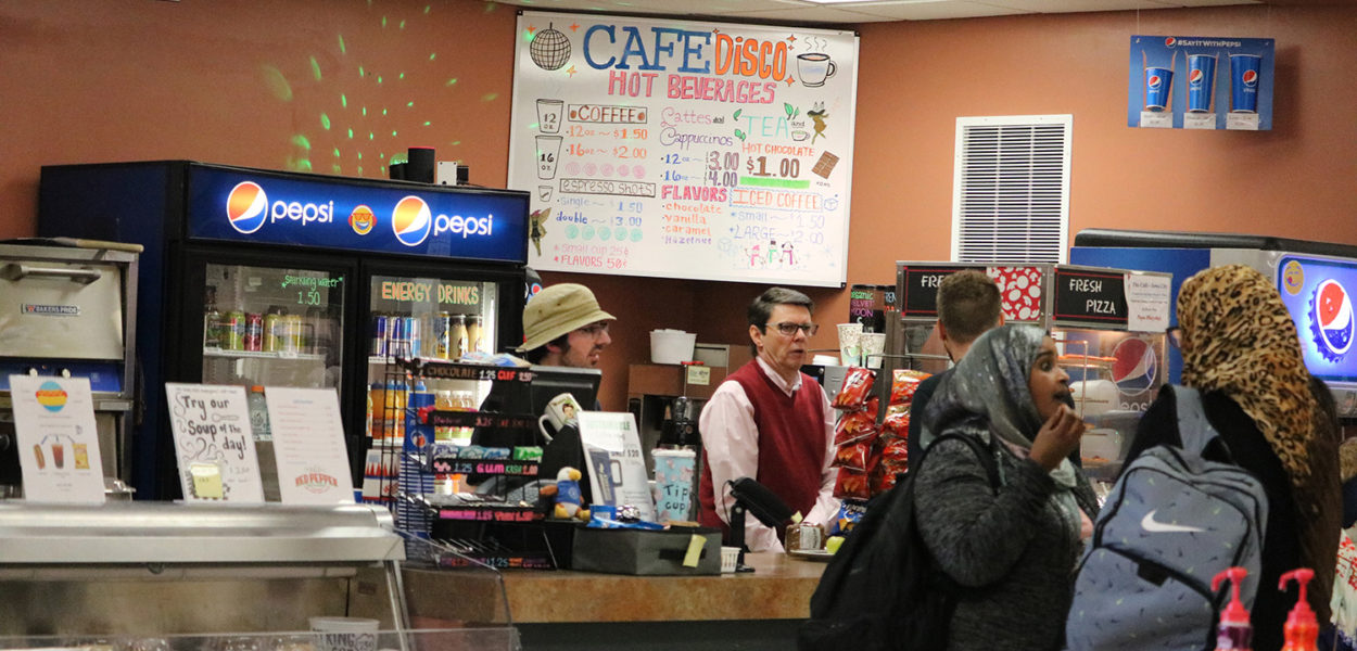 Students line up for lunch at Cafe Disco On the Iowa City campus on March 4. Photo by Jessica McWilliams