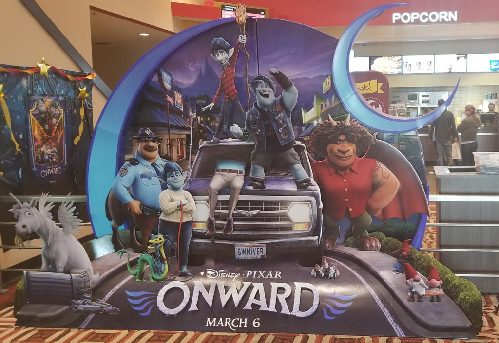 Promotional cutout of Onward at Marcus Theater on opening weekend.