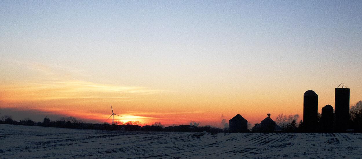 Turbine at sunset