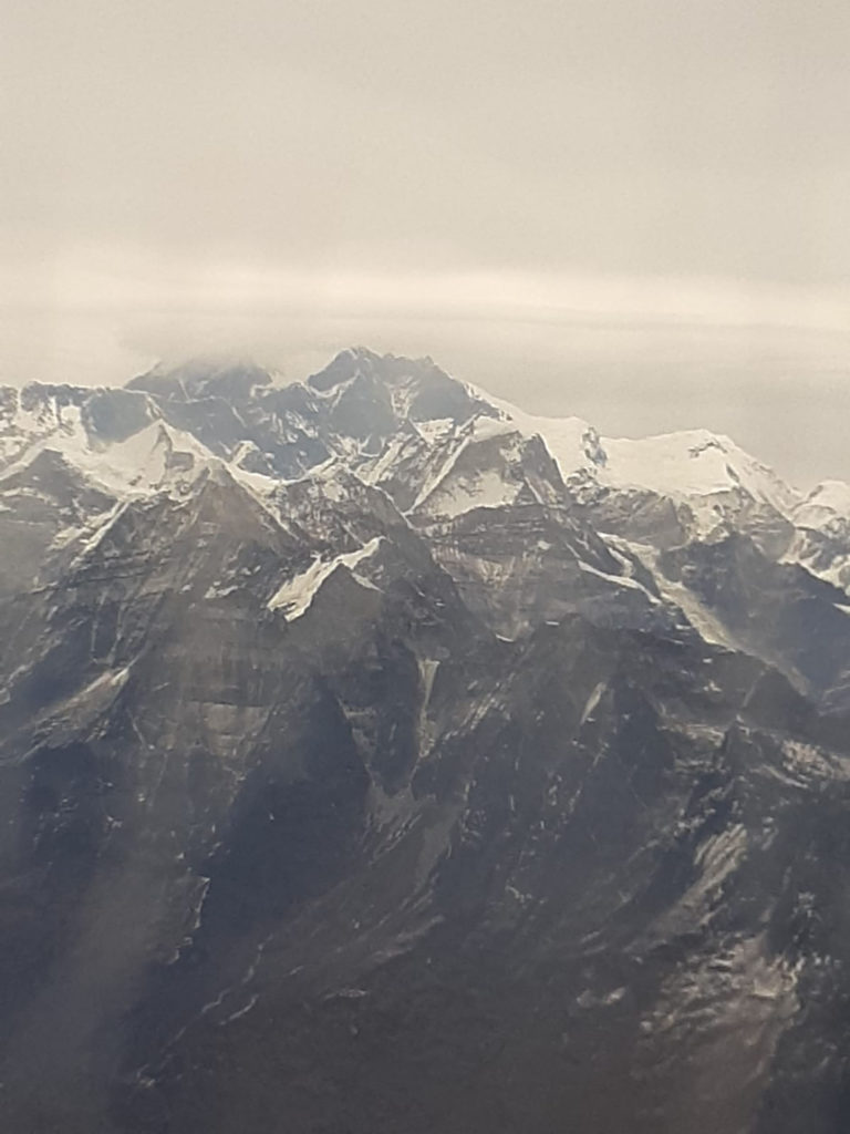 view of Mount Everest during the flight tour