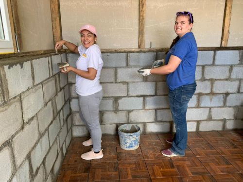 Photo of finishing up a home in Guatemala.