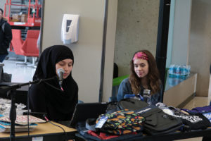Photo of sophomore Tashina Uaumouna and sophomore Ashby Renner calling out numbers for bingo on Feb. 4