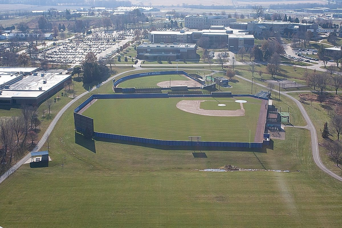 Photo of the view of Kirkwood from the top of the wind turbine durning Fall Semester. Kirkwood baseball diamond in the foreground.
